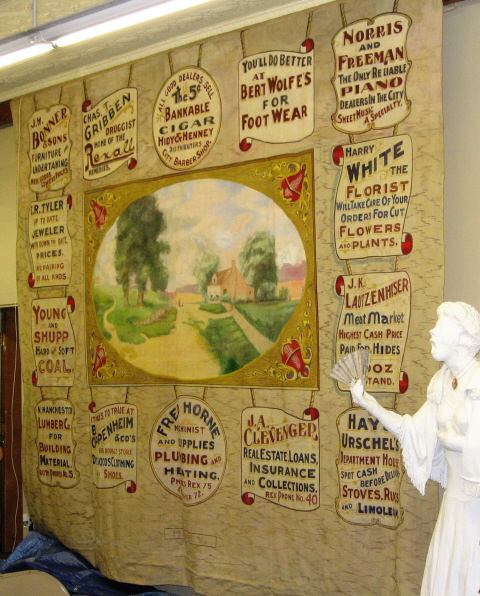 Advertising circa 1910 on Old Opera Curtain (Restored), North Manchester