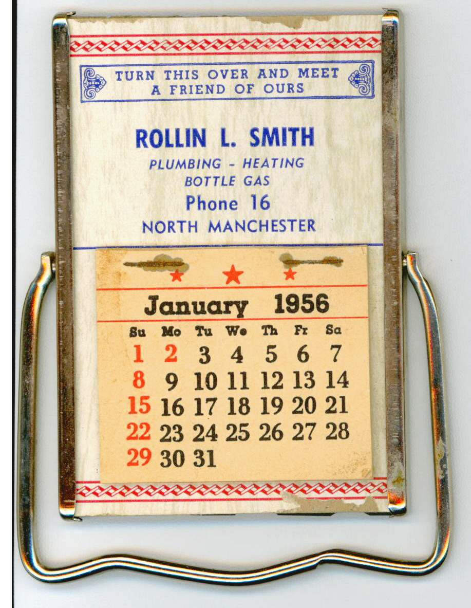 1956 Rollin L. Smith Advertising Calendar, N. Manchester
