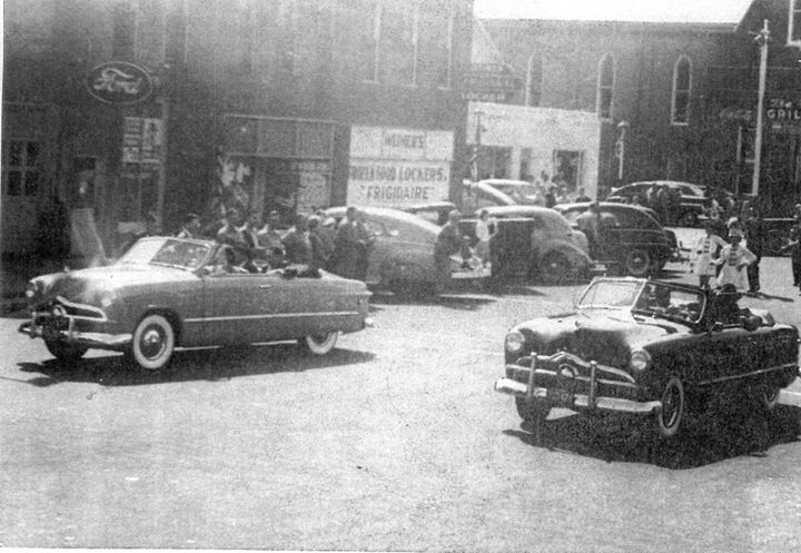 Circa 1950, West Main St: Ford, Weimer's Locker, The Grill